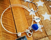 blue lives matter police bangle bracelet wife mom of a police officer thin blue line jewlery for her gift