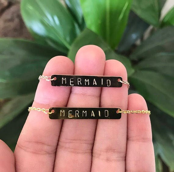 Mermaid Bar Necklace - in Gold or Rose Gold