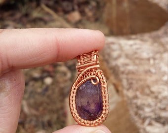 Amethyst Point Non-Tarnish Copper Wire Wrapped Pendant