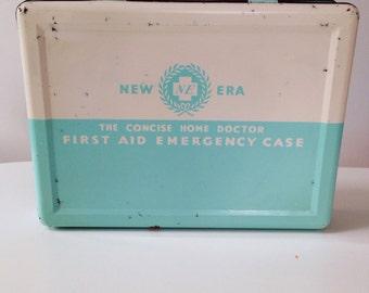 Vintage 1950s New Era Emergency First Aid Tin
