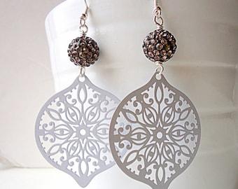 Hematite earrings, Pastel earrings, grey earrings, teardrop earrings, long earrings, trends 2018,  lace earrings, disco ball earrings,