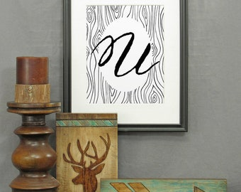 Letter U Print, printable, large letter art, typography, monogram, modern rustic décor, alphabet, initials, poster, wall art, historical