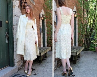 "50s Tea Length Wedding Dress ""FERMAN O'Grady"" Vintage Ivory White LACE SCALLOP Tiered Spring Summer Women's Medium Small Little Formal Dress"