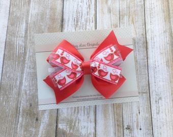 Red Hair Bow - Toddler Hair Bow - Stacked Bow - Valentines Day Bow - Hair Bows - Love Birds Hair Bow - Headband Bows - Girls Hair Bows