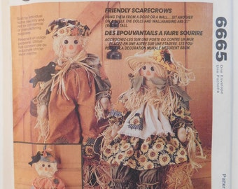 McCall's 6665 Scarecrows Dolls Craft Pattern Uncut Complete Sewing print 1993