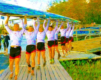 Rowing Crew Carrying Shell Team Of Rowers