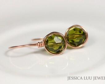 Rose Gold Earrings Swarovski Crystal Earrings Wire Wrapped Jewelry Olive Green Earrings Rose Gold Jewelry Swarovski Crystal Jewelry Handmade