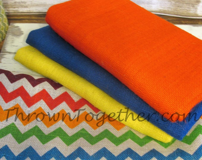 Multi Color Chevron Burlap Fabric Bundle, DIY Burlap Supplies, DIY Craft Supply, 4pc burlap craft supplies, Chevron Burlap Fabric,