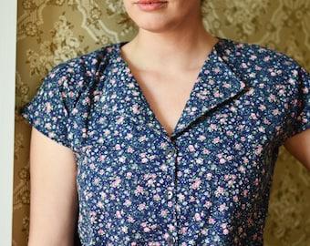 Retro Casual Blouse / Top  Cotton Blouse Shirt / Button Down / Calico Blouse / 1960s / Summer Fashion / Women's Retro Blouse / Vintage Shirt