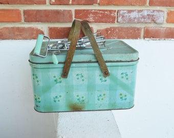 Vintage Green Tin Picnic Box