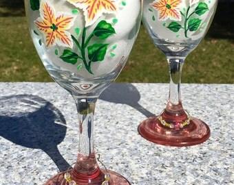 Wine Glasses Hand Painted Yellow Flowers and Wine Charms Set of 2-9 oz Summer Wine Glasses, Anniversary Gift, Birthday Gift, Girlfriend Gift