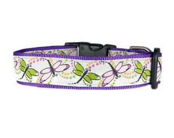 "Dragonflies Dog Collar 1"" Black Collar SIZE SMALL"