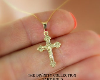 14k gold crucifix etsy solid 14kt gold crucifix cross necklace multi women girls charm pendant fine jewelry 14k superb quality mozeypictures Images