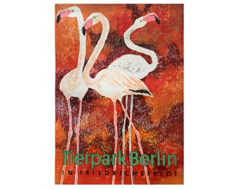SALE 10% OFF Original Vintage Zoo Poster. Berlin. Germany. Tierpark. Flamingo. Advertising Poster. 2017-063