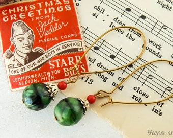 Upcycled vintage christmas earrings / upcycled earrings / holiday earrings / upcycled christmas / vintage christmas / holiday jewelry