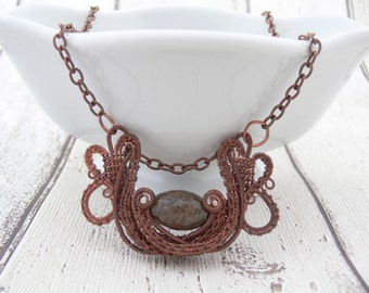 Copper necklace, Wire wrap necklace, Copper wire necklace, Wire necklace, Wire weave necklace, Copper pendant, Brown necklace, Wire art