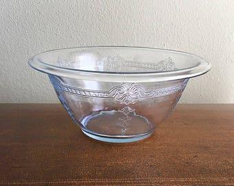 Fire King Philbe Sapphire Blue Mixing Bowl, Vintage Serving Bowl, Art Nouveau Motif, Anchor Hocking glass