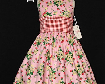 Girls size 6 strawberry and gingham dress for spring summer church dress Easter dress ready to ship MADE in the USA