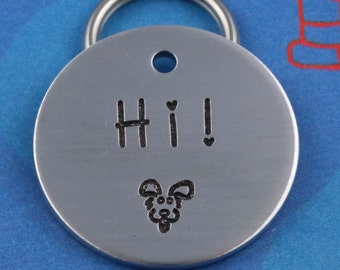 Cute Customized Dog ID Tag - Unique Font - Cool Simple Pet Tag