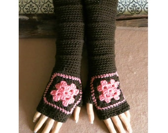 Fingerless Gloves, Brown Granny Square Arm Warmers, Long Crochet Pattern Mitts, Hand Crochet Wool Gloves, Brown, Melon