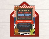 Cowboy Birthday Invitation - Printable Chalkboard Cowboy Invite - Country Western Themed Party Ideas - Little Cowboy Party Package - BP76