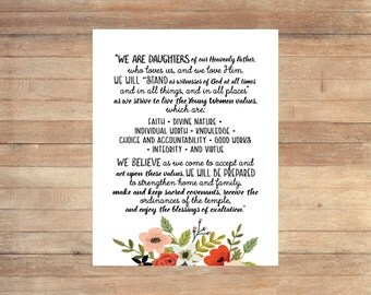 Young Women Theme Floral Poster LDS Printable Set We are Daughters of our Heavenly Father New Beginnings Ask of God Ask in Faith