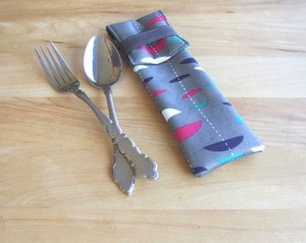 Utensil Pouch - unique cutlery carrier - handmade silverware case - fabric picnic pouch - lunch bag accessory - eyeglass case - grey discs