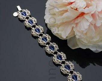 Chain Mail Sapphire Romanov Bracelet, Chainmaille Wrist Bracelet, Chain Maille Bracelet, Chainmail, Swarovski Sapphire Beads