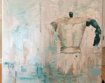 Original Fine Art Italian Expresso Coffee Maker Acrylic Painting Wall Art Medium Canvas 12 x 12 square home decor