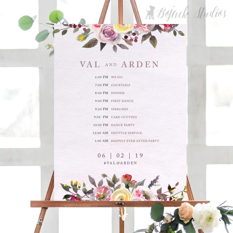 VAL Wedding Schedule Poster | Wedding Order of Events Timeline ...