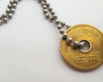 Asian Brass Coin with Stainless Steel Ball Chain