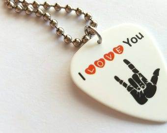 I LOVE YOU Guitar Pick Necklace with Stainless Steel Ball Chain