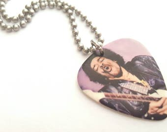 Jimi Hendrix Guitar Pick Necklace with Stainless Steel Ball Chain - music
