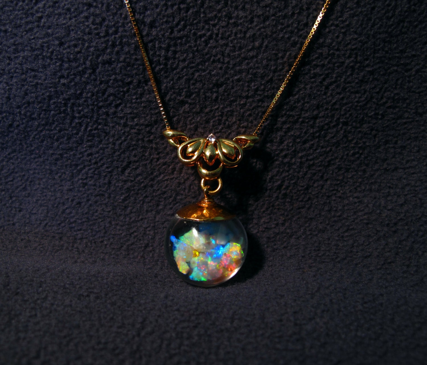floating opal necklace with 6 carats lightning ridge