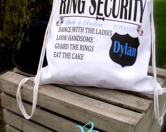 RING SECURITY; personalized; ring bearer gift; ring bearer bag; backpack; ring security gift; novelty gift; wedding party gifts;  wedding