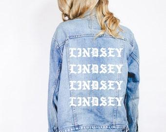 Your Name Custom Personalized Monogram Monogrammed Customized Pablo Kanye West Yeezy Yeezus Vintage Denim Jacket