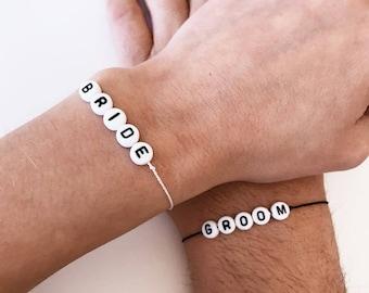 Bride and Groom silk bracelet, Different silk colors available, dainty string bracelet