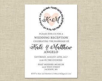 Printable Wedding Reception Invitation, Celebration, After Party Invitation Custom Printable 5x7, Heart in Wreath