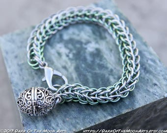 Silver & Seafoam Green Persian Weave Chain Maille Bracelet ~ Glow In The Dark Pendant Steampunk Mermaid Locket In 4 Glowing UV Resin Colours