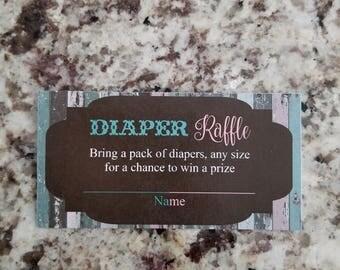 Printable Rustic Neutral Diaper Raffle Tickets