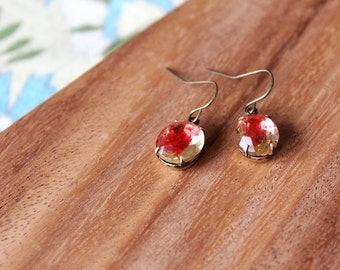 vintage glass earrings - raspberry lemonade