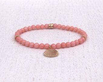 Pink coral bracelet, Gold shell bracelet, Stretch bead bracelet