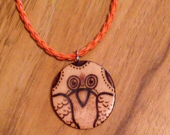 Wood burned owl pendant/necklace on braided leather cord