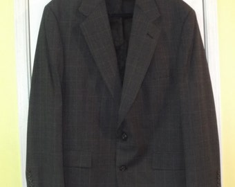 Men's Blazer Brooks Brothers Plaid Wool Sports Coat Size 44 Reg.