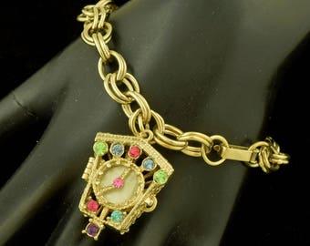 Vintage Clock Locket Rhinestone Fob Bracelet ~ Lot 1381