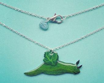 Green sea slug necklace. Tambja tenuilineata green nudibranch gloss charm on 19 inch chain. Perfect gift for diver / freediver / snorkeler.
