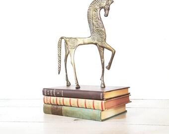 Mid Century Brass Etruscan Horse Statue Frederick Weinberg Style Vintage Cast Metal Trojan Horse Statue