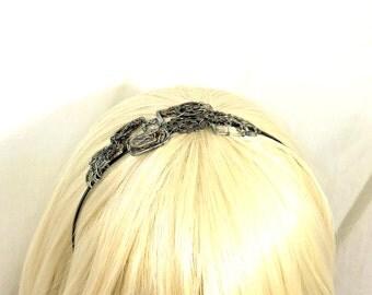 Silver and Copper Wire Wrap Steampunk Headband