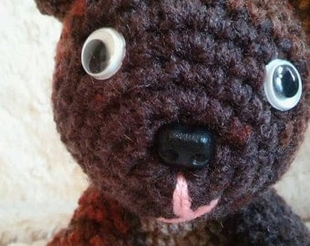 brown toy dog plushie/stuffed/chihuahua-handmade crochet toy dog-handmade brown stuffed sitting dog toy