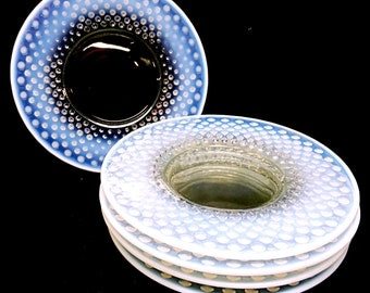 Moonstone Opalescent Hobnail Plates Appetizers, Hors D'oeuvre, Canape, Sandwich Plates, Bar Cart Serving Plates